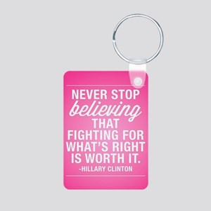 Never Stop Believing Aluminum Photo Keychain