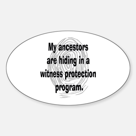 Genealogy's Witness Protection (black) Decal