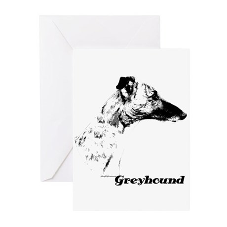 Greyhound Charcoal Greeting Cards (Pk of 20)