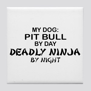 Pit Bull Deadly Ninja by Night Tile Coaster