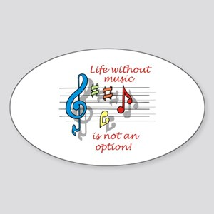 Life Without Music Oval Sticker