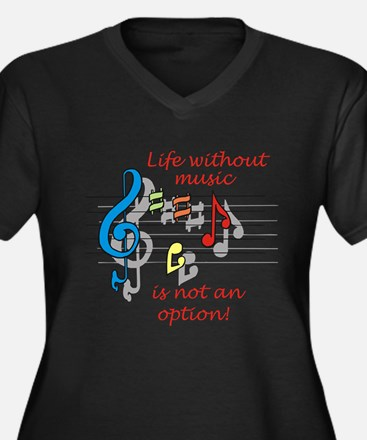 Life Without Music Women's Plus Size V-Neck Dark T