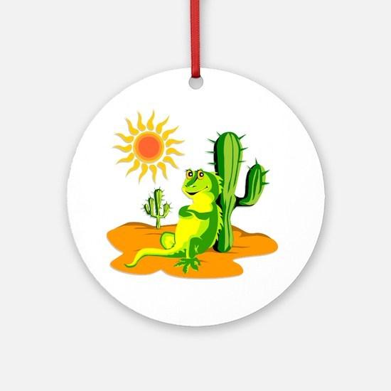 Cactus in the Desert Iguana Ornament (Round)