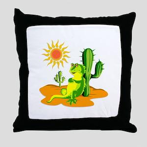 Cactus in the Desert Iguana Throw Pillow