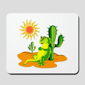 Cactus in the Desert Iguana Mousepad