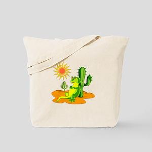 Cactus in the Desert Iguana Tote Bag