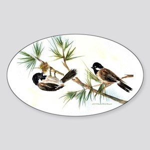 Two Chickadees Oval Sticker