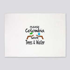 Please Colombia Save Trees & Water 5'x7'Area Rug