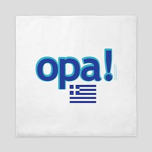 greek flag opa1 Queen Duvet