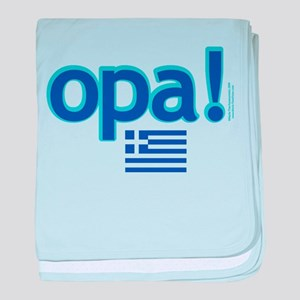 Greek Flag Opa1 Baby Blanket