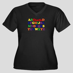 Charlie - Alphabet Women's Plus Size V-Neck Dark T