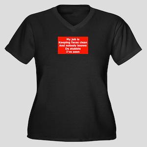 Burma Shave Slogan Women's Plus Size V-Neck Dark T