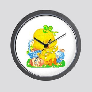 Vintage Cute Easter Duckling And Egg C Wall Clock