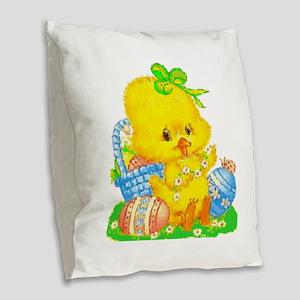 Vintage Cute Easter Duckling Burlap Throw Pillow