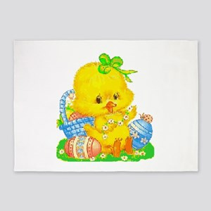 Vintage Cute Easter Duckling And Egg 5'x7'