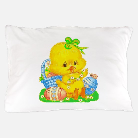Vintage Cute Easter Duckling And Egg Pillow Case