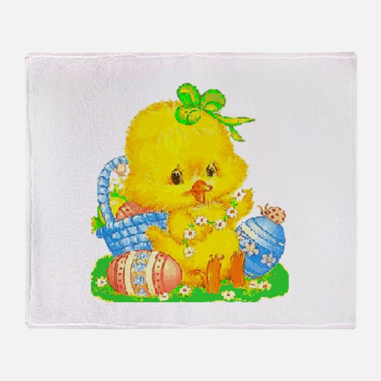 Vintage Cute Easter Duckling And Egg Throw Blanket