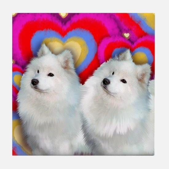 SAMOYED DOGS LOVE HEARTS VALENTINE Tile Coaster