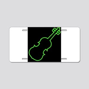 Fiddle Neon Outline Aluminum License Plate