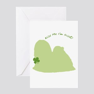 Lhasa Apso... Kiss Me I'm Irish! Greeting Card