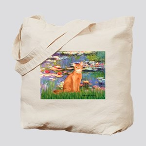 Lilies & Red Abyssinian cat (S) Tote Bag