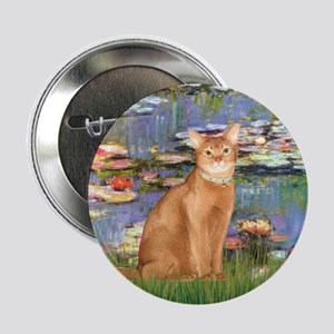 """Lilies & Red Abyssinian cat (S) 2.25"""" Button"""