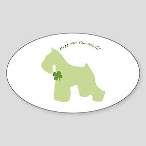 Schnauzer... Kiss Me I'm Irish! Oval Sticker