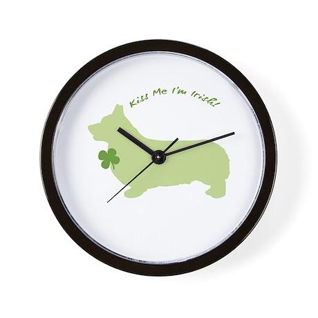 Corgi... Kiss Me I'm Irish! Wall Clock