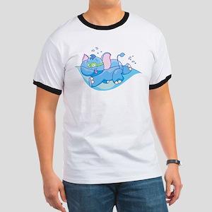 Lil Blue Elephant Swimmer Ringer T