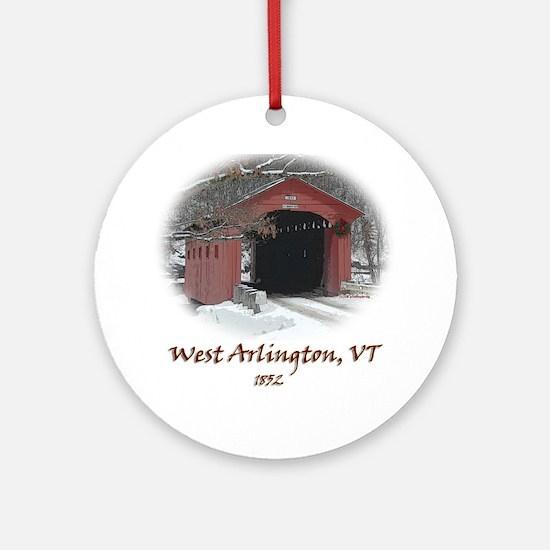 West Arlington Covered Bridge Ornament (Round)