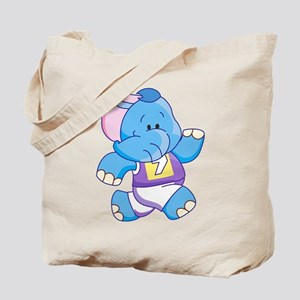 Lil Blue Elephant Runner Tote Bag