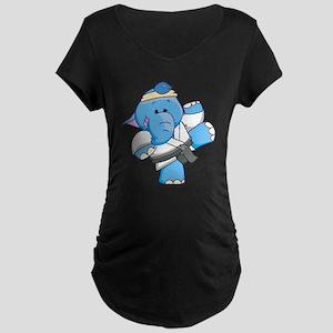 Lil Blue Elephant Karate Maternity Dark T-Shirt