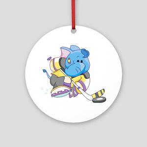 Lil Blue Elephant Hockey Ornament (Round)