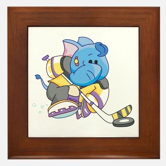 Lil Blue Elephant Hockey Framed Tile