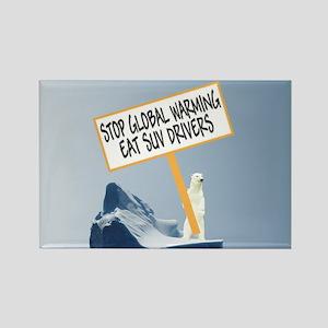 Polar Bear Global Warming Rectangle Magnet