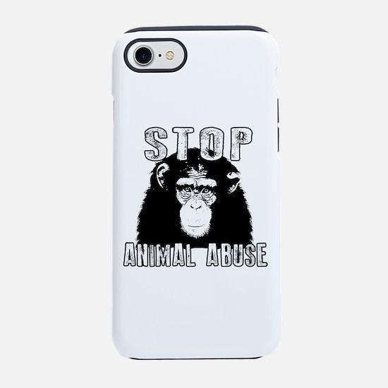 Stop Animal Abuse - Chimpanz iPhone 8/7 Tough Case