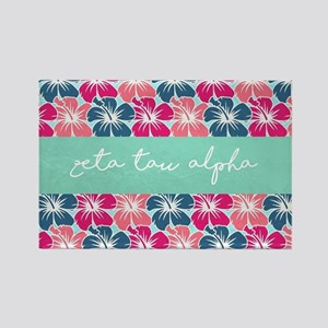 Zeta Tau Alpha Floral Rectangle Magnet