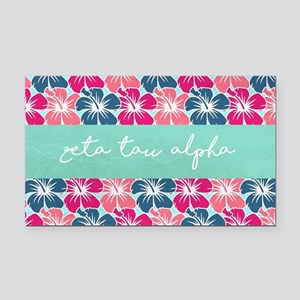 Zeta Tau Alpha Floral Rectangle Car Magnet