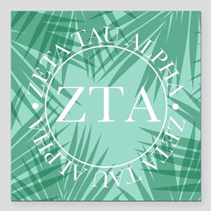 "Zeta Tau Alpha Leaves Square Car Magnet 3"" x 3"""