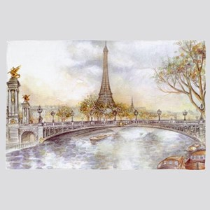 Eiffel Tower Painting 4' x 6' Rug