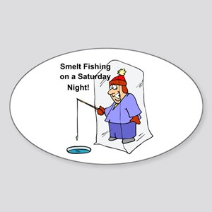 Smelt Fishing Oval Sticker