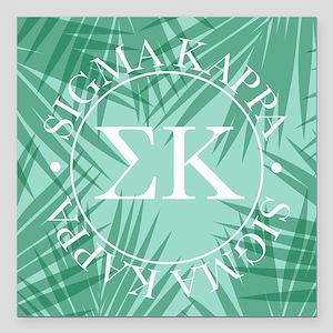 "Sigma Kappa Leaves Square Car Magnet 3"" x 3"""