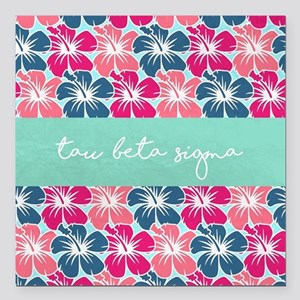 "Tau Beta Sigma Floral Square Car Magnet 3"" x 3"""