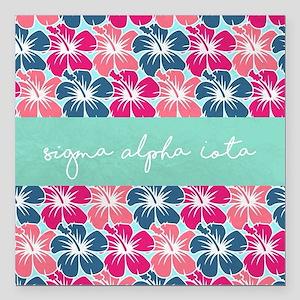 "Sigma Alpha Iota Floral Square Car Magnet 3"" x 3"""
