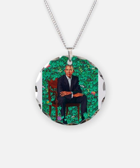 President Obama in a Garden Necklace Circle Charm
