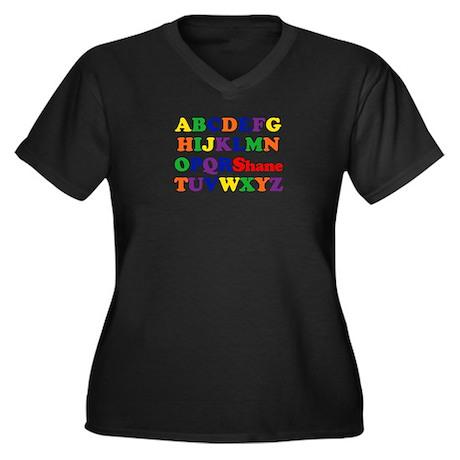 Shane - Alphabet Women's Plus Size V-Neck Dark T-S