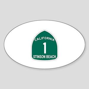 Stinson Beach, California Hig Oval Sticker