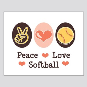 Peace Love Softball Small Poster