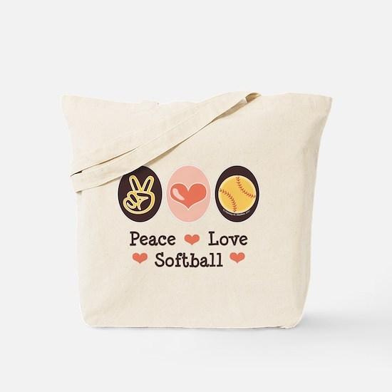 Peace Love Girls Softball Tote Bag