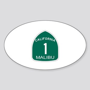Malibu, California Highway 1 Oval Sticker